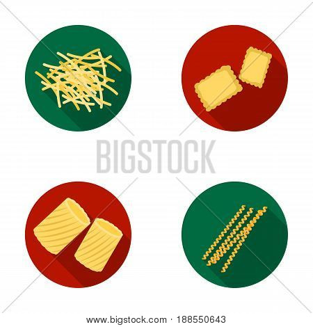Different types of pasta. Types of pasta set collection icons in flat style vector symbol stock illustration .