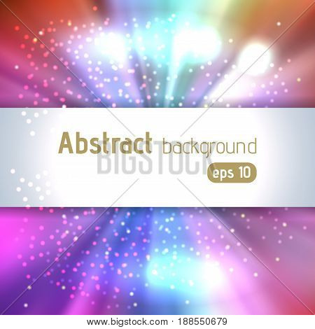 Sunburst background with pink, blue glittering stars. Beautiful rays of light. Vector illustration