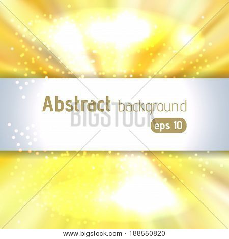 Vector illustration of abstract background with blurred magic light rays, vector illustration. Yellow, white colors.