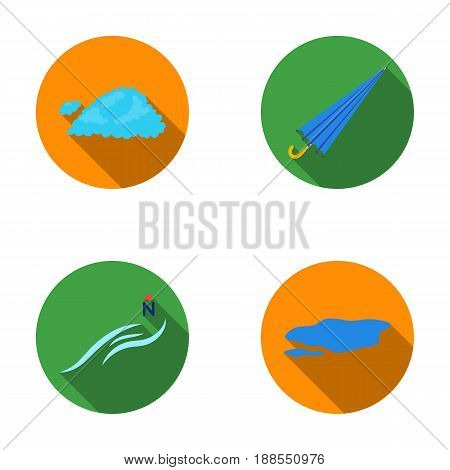 Cloud, umbrella, the north wind, a puddle on the ground. The weather set collection icons in flat style vector symbol stock illustration .