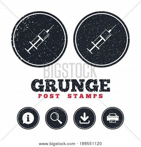 Grunge post stamps. Syringe sign icon. Medicine symbol. Information, download and printer signs. Aged texture web buttons. Vector
