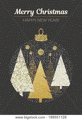 Vector merry Christmas and happy New Year design. Vertical card with Christmas trees in ball on black background. Geometrical illustration.