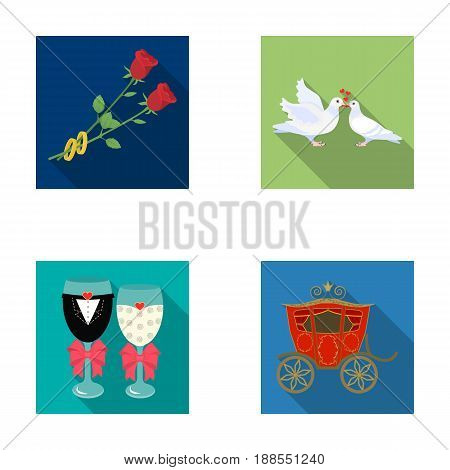 Two red roses with rings, pigeons kissing with hearts, wedding glasses with bows and champagne, a carriage for a festive ceremony. Wedding set collection icons in flat style vector symbol stock illustration .