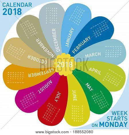 Colorful Calendar For 2018. Flower Design, Each Month In A Petal. Week Starts On Monday.