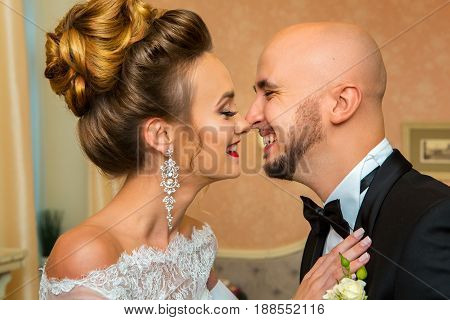 portrait of Happy young just merried couple laughing