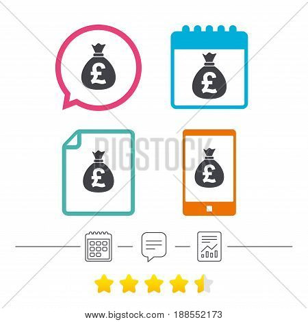 Money bag sign icon. Pound GBP currency symbol. Calendar, chat speech bubble and report linear icons. Star vote ranking. Vector