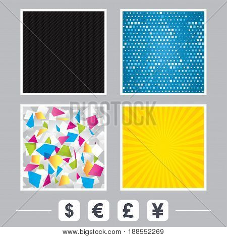 Carbon fiber texture. Yellow flare and abstract backgrounds. Dollar, Euro, Pound and Yen currency icons. USD, EUR, GBP and JPY money sign symbols. Flat design web icons. Vector