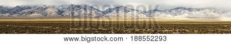 Long set of snowcovered foothills and ridges in Nevada