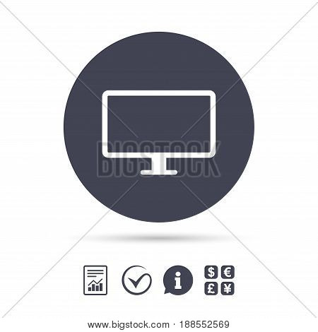 Computer widescreen monitor sign icon. Report document, information and check tick icons. Currency exchange. Vector