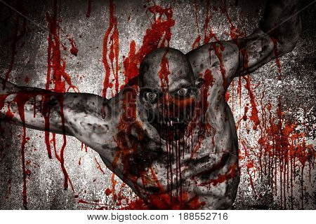 3d Rendering of bloody monster stare at camera
