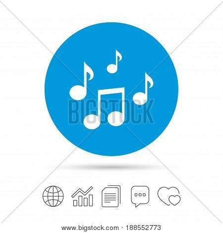 Music notes sign icon. Musical symbol. Copy files, chat speech bubble and chart web icons. Vector