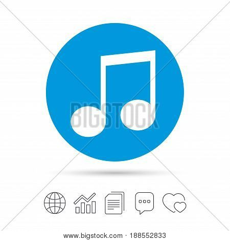 Music note sign icon. Musical symbol. Copy files, chat speech bubble and chart web icons. Vector