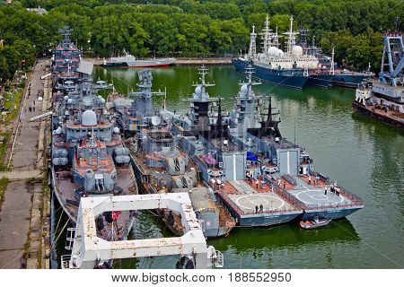 Baltiysk, Kaliningrad region, Russia - August 08, 2014: Aerial view to Russian warships ships of Baltic fleet anchored in the bay