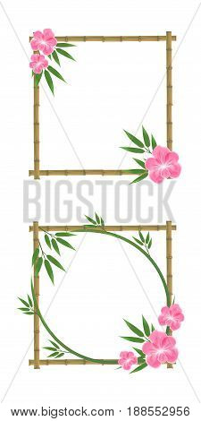 Vector Illustration Of Bamboo, Pink Orchid, Bamboo Frame, Bamboo Leaves.