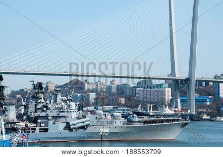 Russia Vladivostok April 7: Seaport with vessels
