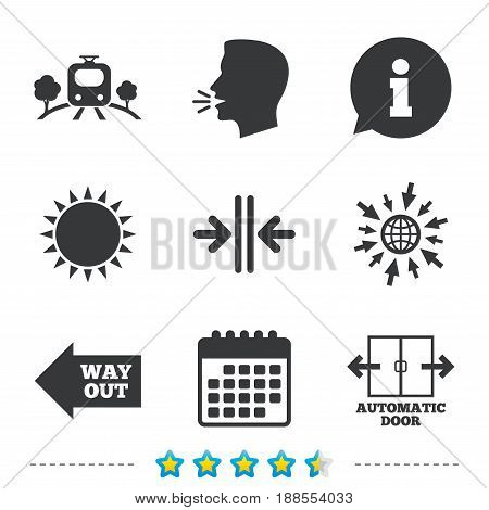 Train railway icon. Overground transport. Automatic door symbol. Way out arrow sign. Information, go to web and calendar icons. Sun and loud speak symbol. Vector