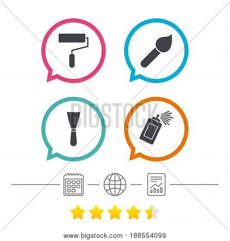 Paint roller, brush icons. Spray can and Spatula signs. Wall repair tool and painting symbol. Calendar, internet globe and report linear icons. Star vote ranking. Vector