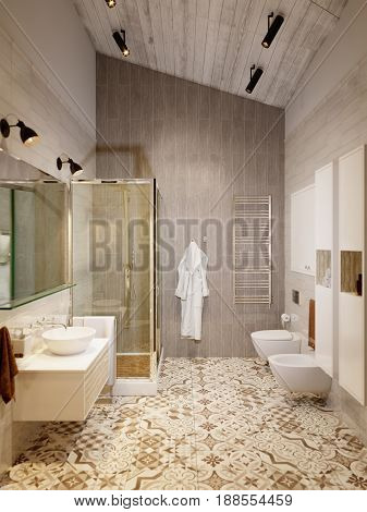 Rustic Provence Loft Bathroom Shower WC Room Interior Design with Shower Toilet and Bidet. 3d rendering