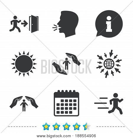Life insurance hands protection icon. Human running symbol. Emergency exit with arrow sign. Information, go to web and calendar icons. Sun and loud speak symbol. Vector