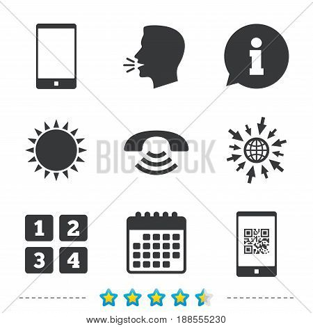 Phone icons. Smartphone with Qr code sign. Call center support symbol. Cellphone keyboard symbol. Information, go to web and calendar icons. Sun and loud speak symbol. Vector