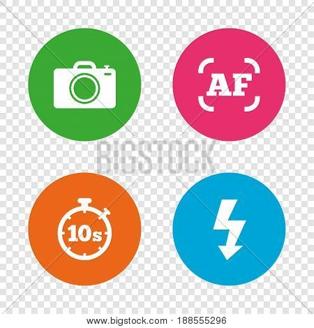 Photo camera icon. Flash light and autofocus AF symbols. Stopwatch timer 10 seconds sign. Round buttons on transparent background. Vector