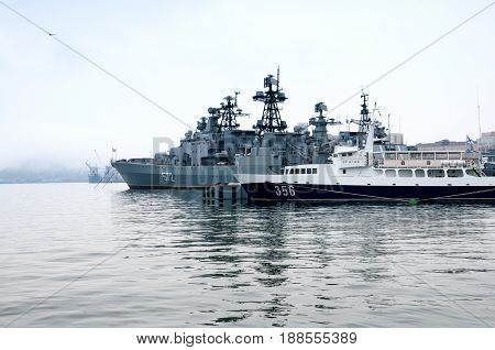 Russia, Vladivostok, April 8: Ships On The Sea