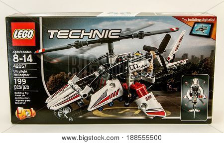 New York May 26 2017: Technic Lego assembly kit stands against white background.