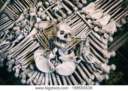 Human bones and skulls in Ossuary. Kostnice Church in Kutna Hora Czech republic.