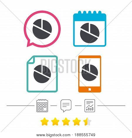 Pie chart graph sign icon. Diagram button. Calendar, chat speech bubble and report linear icons. Star vote ranking. Vector