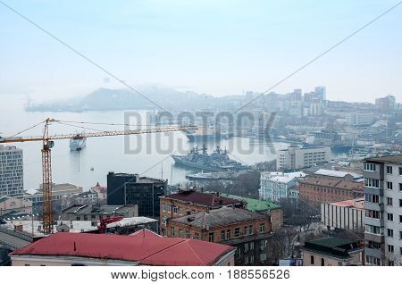 Russia Vladivostok April 8: port of Vladivostok Golden Horn Bay