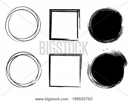 Set of Black Grunge Circle Stains, Shapes. Vector illustration. Hand Drawn Ink Circles Collection.