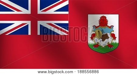 Flag of Bermuda with a little Waving, Shading & Flag Colors separated layers - Vector Illustration