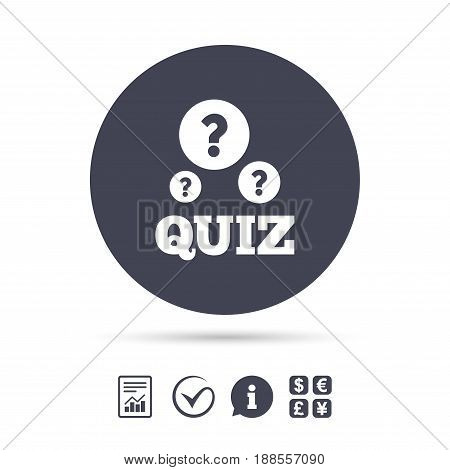 Quiz with question marks sign icon. Questions and answers game symbol. Report document, information and check tick icons. Currency exchange. Vector