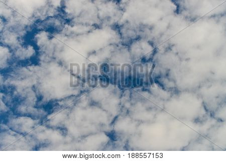 Blue sky with clouds background in beautiful summer day