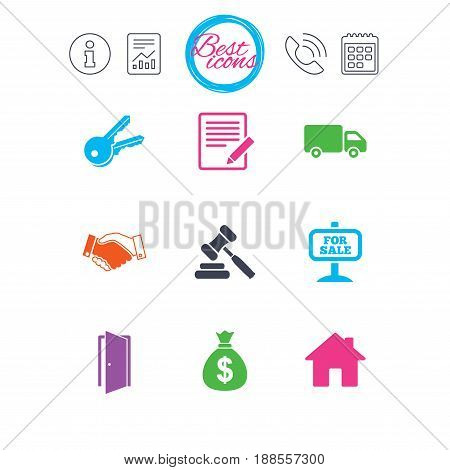 Information, report and calendar signs. Real estate, auction icons. Handshake, for sale and money bag signs. Keys, delivery truck and door symbols. Classic simple flat web icons. Vector