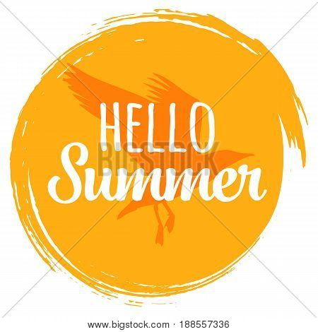 Hand written phrase Hello summer on the yellow circle hand drawn background with seagull.