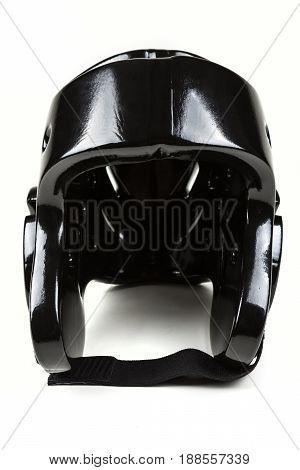 Black Sparring Helmet On A White Background