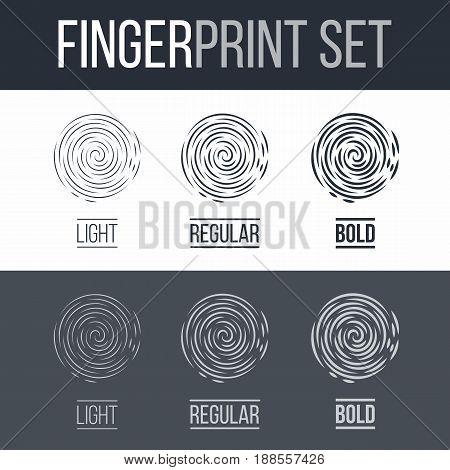 Abstract Fingerprints Set Print for Security ID on Dark and White Background for Design