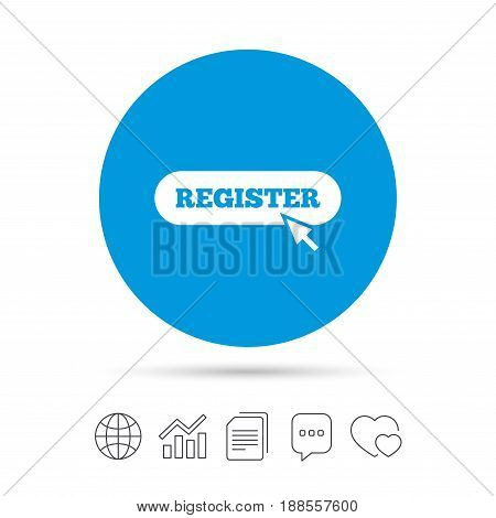 Register with cursor pointer sign icon. Membership symbol. Website navigation. Copy files, chat speech bubble and chart web icons. Vector
