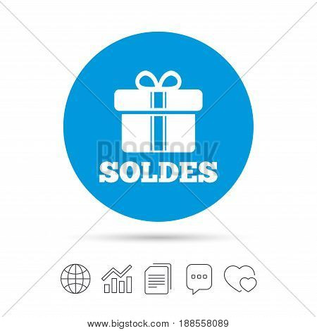 Soldes - Sale in French sign icon. Gift box with ribbons symbol. Copy files, chat speech bubble and chart web icons. Vector