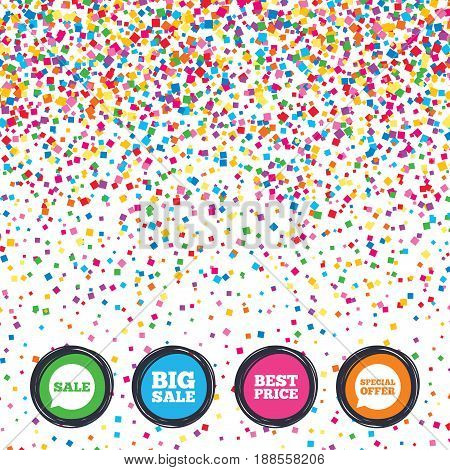 Web buttons on background of confetti. Sale icons. Special offer speech bubbles symbols. Big sale and best price shopping signs. Bright stylish design. Vector