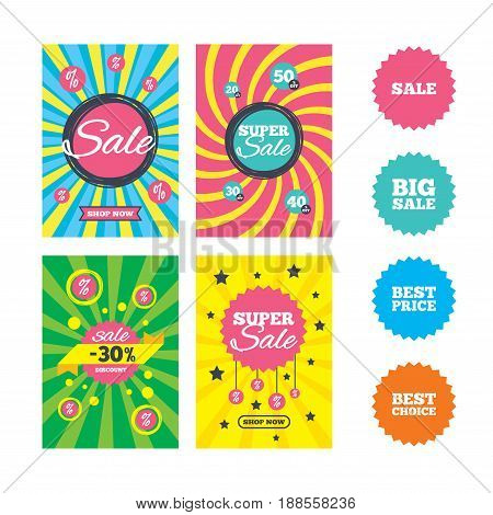 Web banners and sale posters. Sale icons. Best choice and price symbols. Big sale shopping sign. Special offer and discount tags. Vector