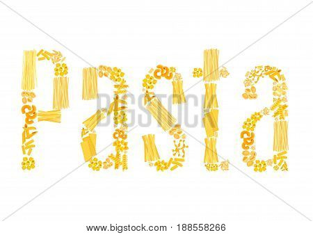 Pasta text of macaroni for Italian cuisine or restaurant design. Vector spaghetti and lasagna or pappardelle, ravioli and tagliatelle, bucatini and farfalle or gobetti and funghetto noodles