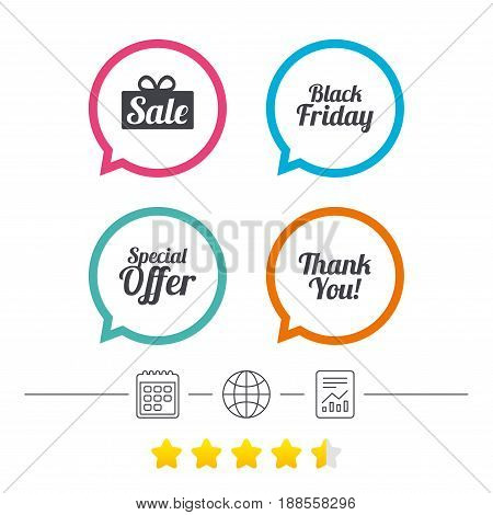 Sale icons. Special offer and thank you symbols. Gift box sign. Calendar, internet globe and report linear icons. Star vote ranking. Vector