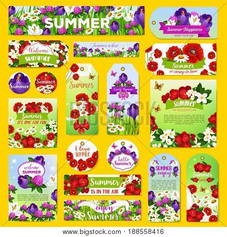 Summer holiday greeting tags and banners with blooming flowers design. Vector labels set of flourish viola or daisy and orchid blossom, poppy and begonia flowers bouquet or summer roses and clover
