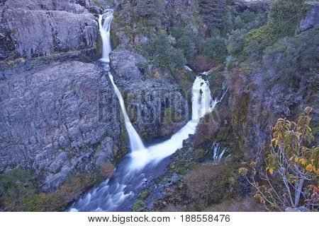 Waterfall, Salto Las Chilcas, on the River Laja as it flows through Laguna de Laja National Park in the Bio Bio region of Chile.