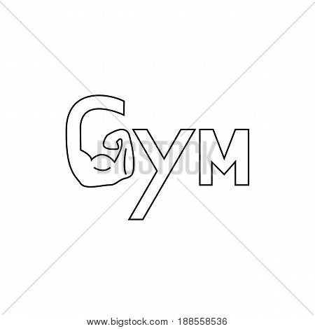 Hand of Gym logo. Brawny arm isolated. Flat style. Logo. Sports emblem, icon, Badge, Fitness Logo Design