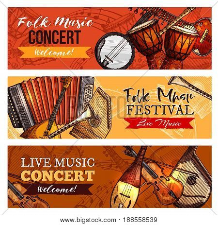 Live music concert or folk festival vector banner set for musical sound fest. Design of banjo guitar and harmonica, drums or percussion and violin or fiddle, flute and clef note