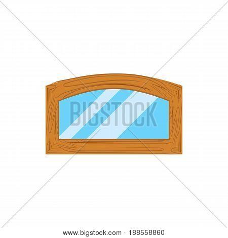 Wooden window frames view . Retro plastic windows. Flat windows