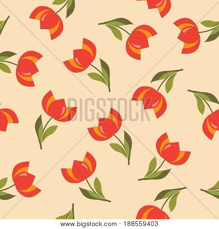 Floral seamless pattern with tulips on a moccasin background